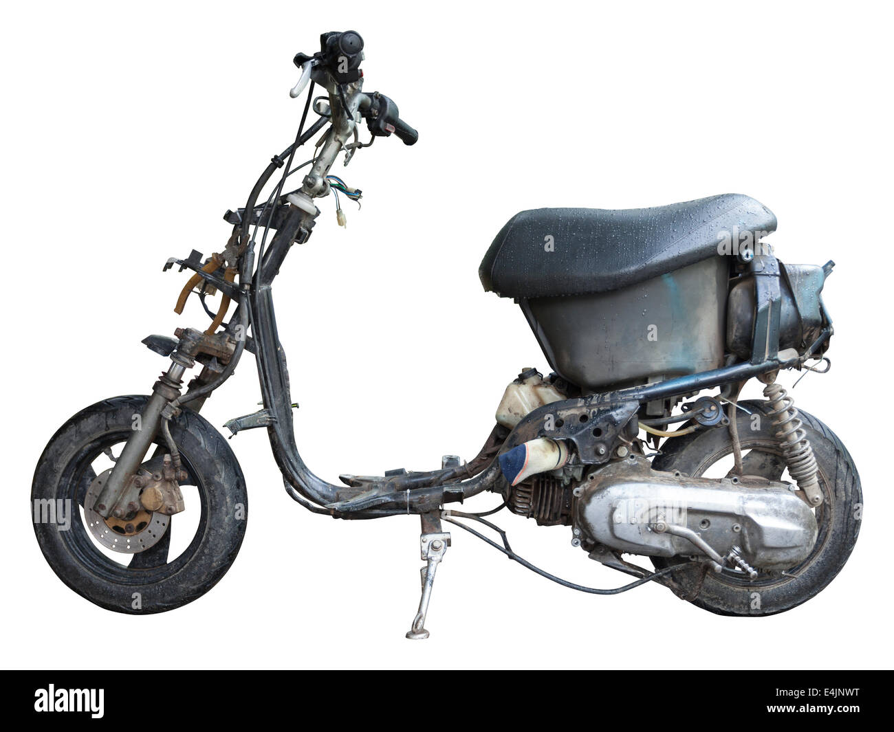 old disassembled scooter ready for repair - stock image