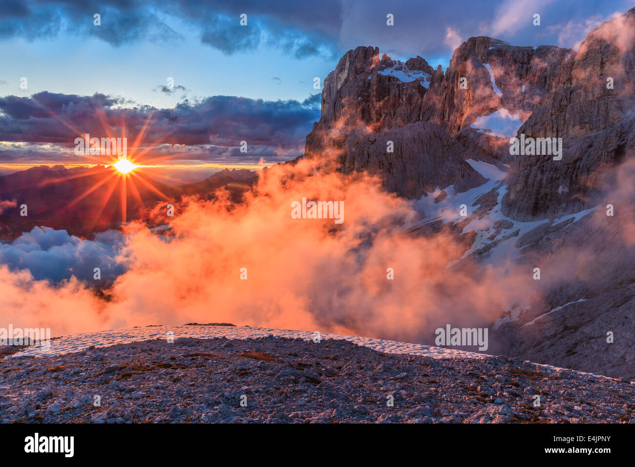 suset in Dolomite Alps, Italy - Stock Image