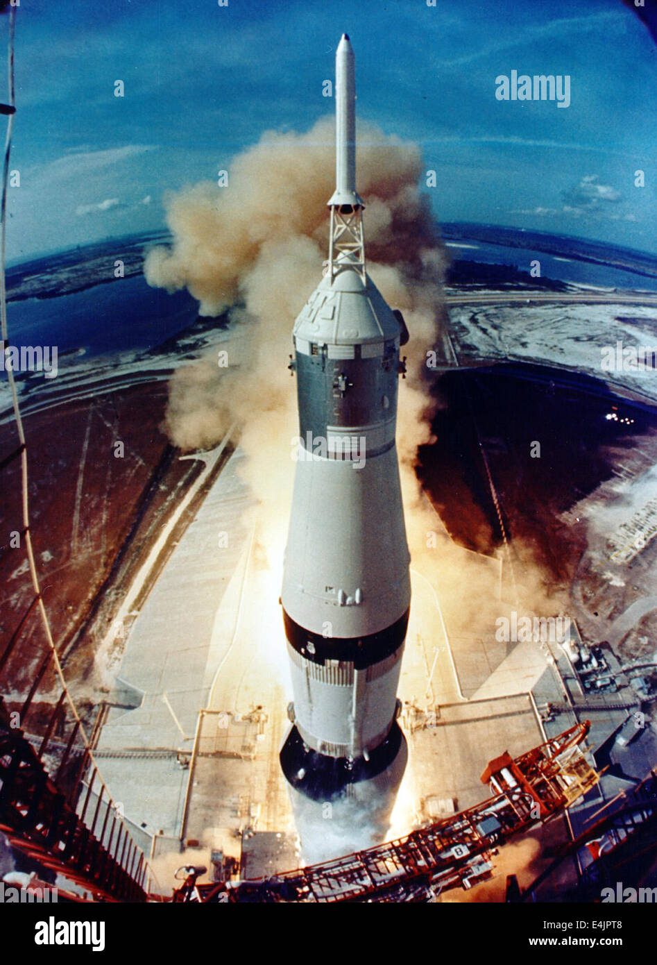 Apollo 11 liftoff as viewed from the launch tower - Stock Image