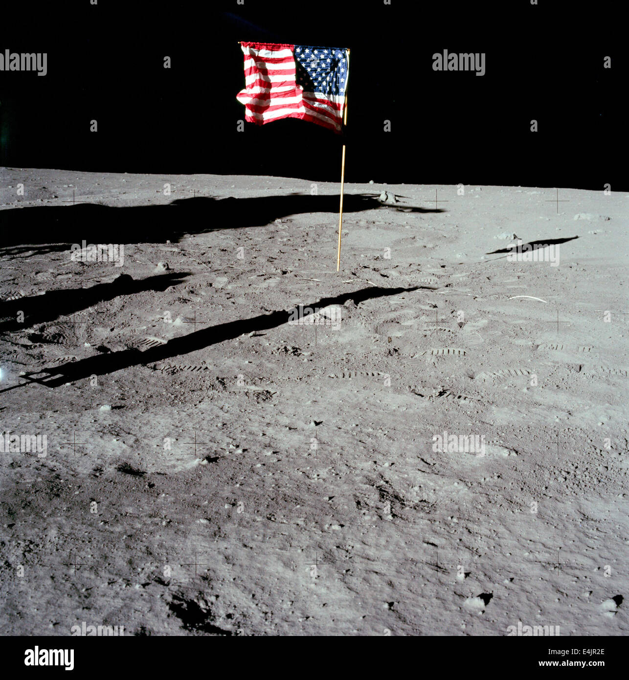 Apollo 11 American flag on the Moon surface - Stock Image