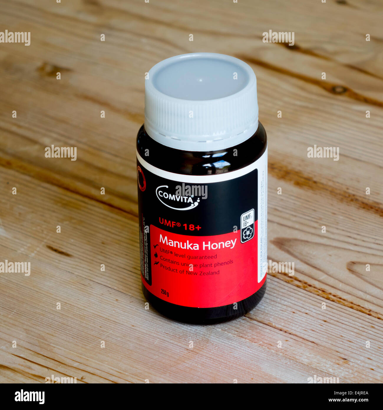 Jar of Manuka Honey expensive as it has medicinal properties and has limited production only New Zealand tea tree - Stock Image