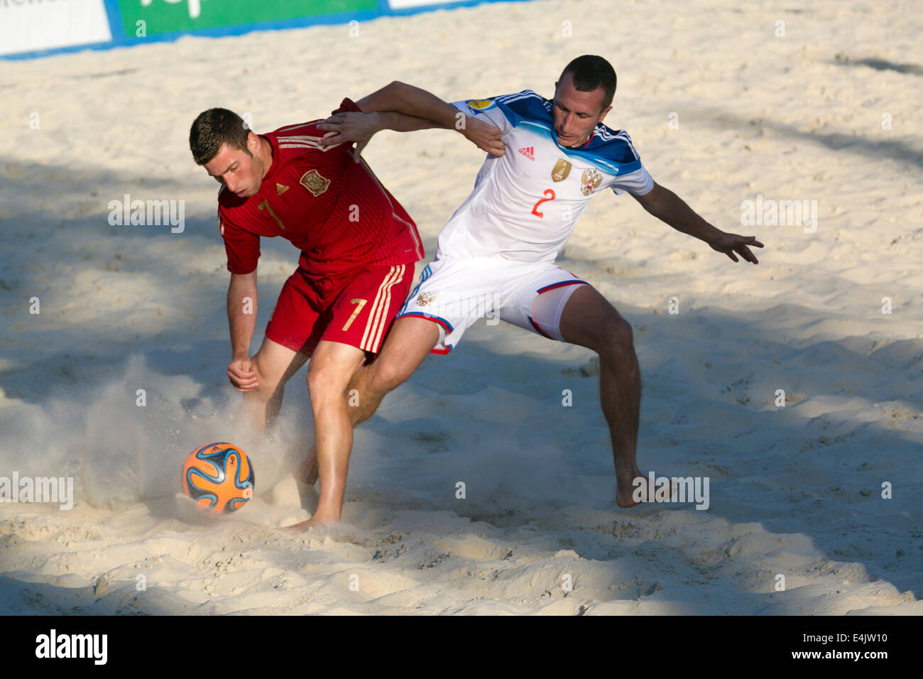 Moscow, Russia. 13th July, 2014. Euro Beach Soccer League tournament, Moscow stage. Game between Russia and Spain - Stock Image