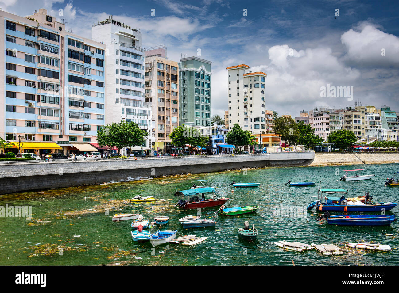 Stanely, Hong Kong, China skyline at the Main Street waterfront. Stock Photo