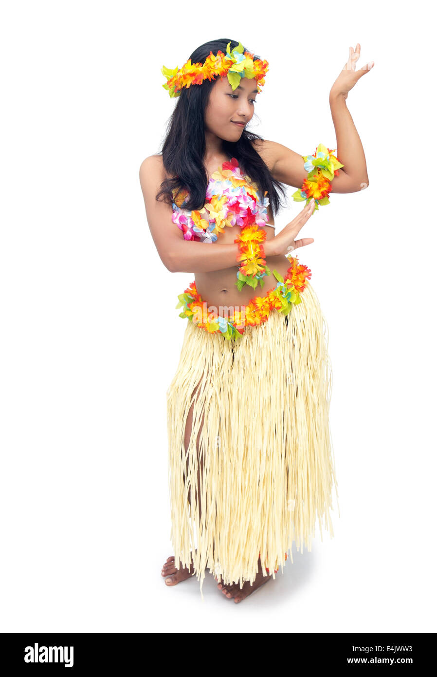 Hawaii hula dancer on white background - Stock Image