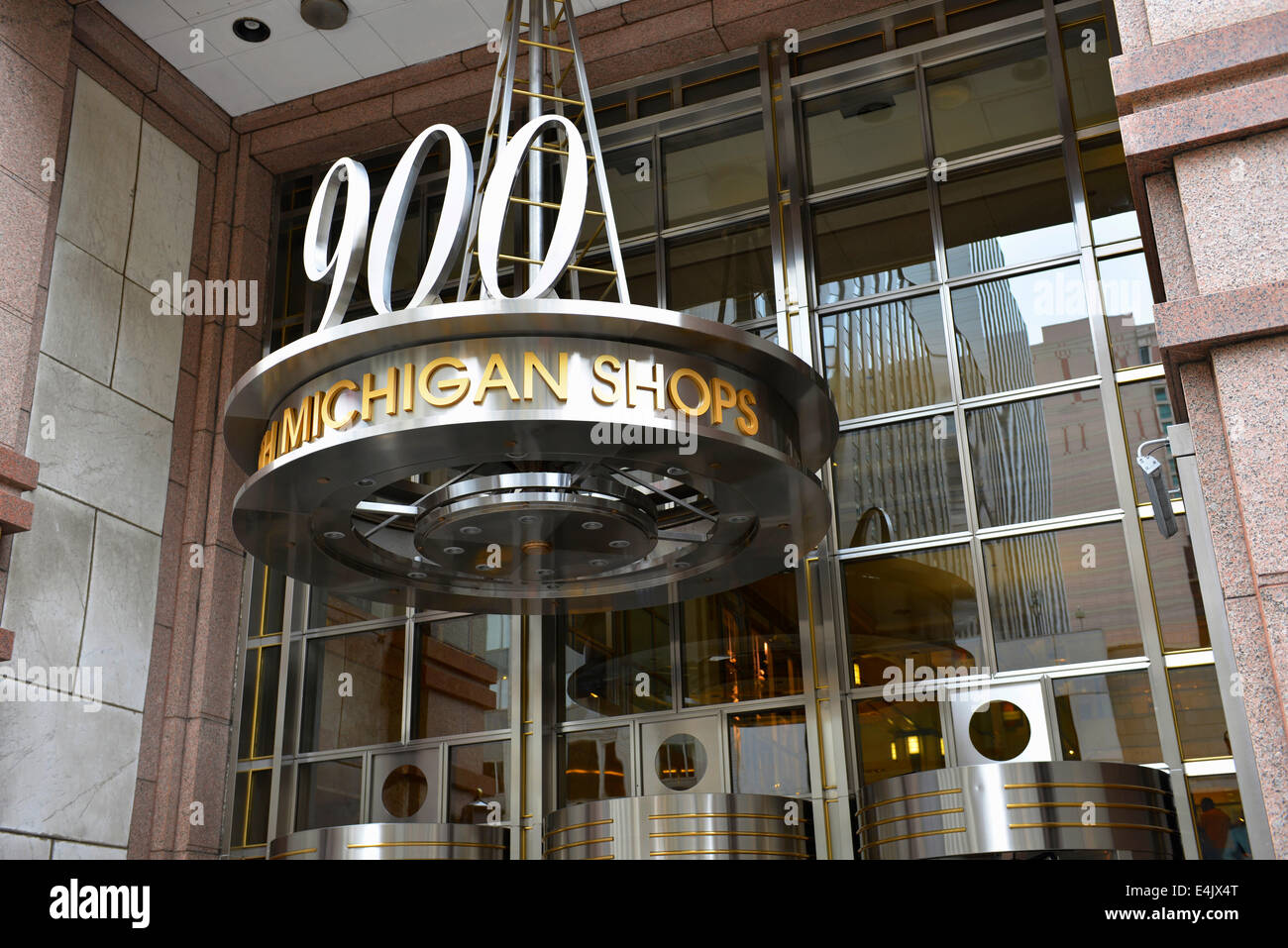 900 North Michigan Shops, sign above entrance, Shopping Mall, Chicago, Illinois - Stock Image