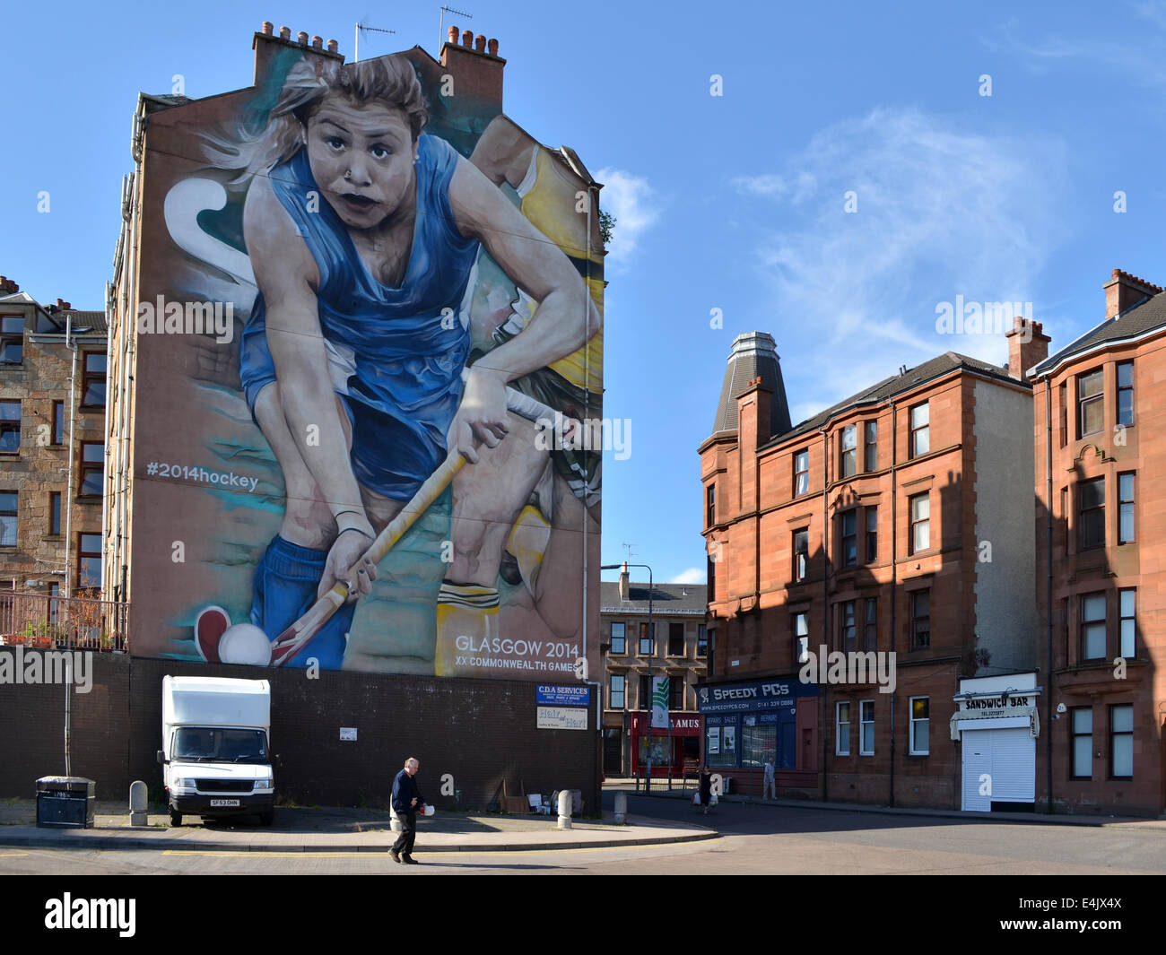 Glasgow Commonwealth Games 2014 graffiti on the gable ends at Partick Bus Station, Glasgow - Stock Image
