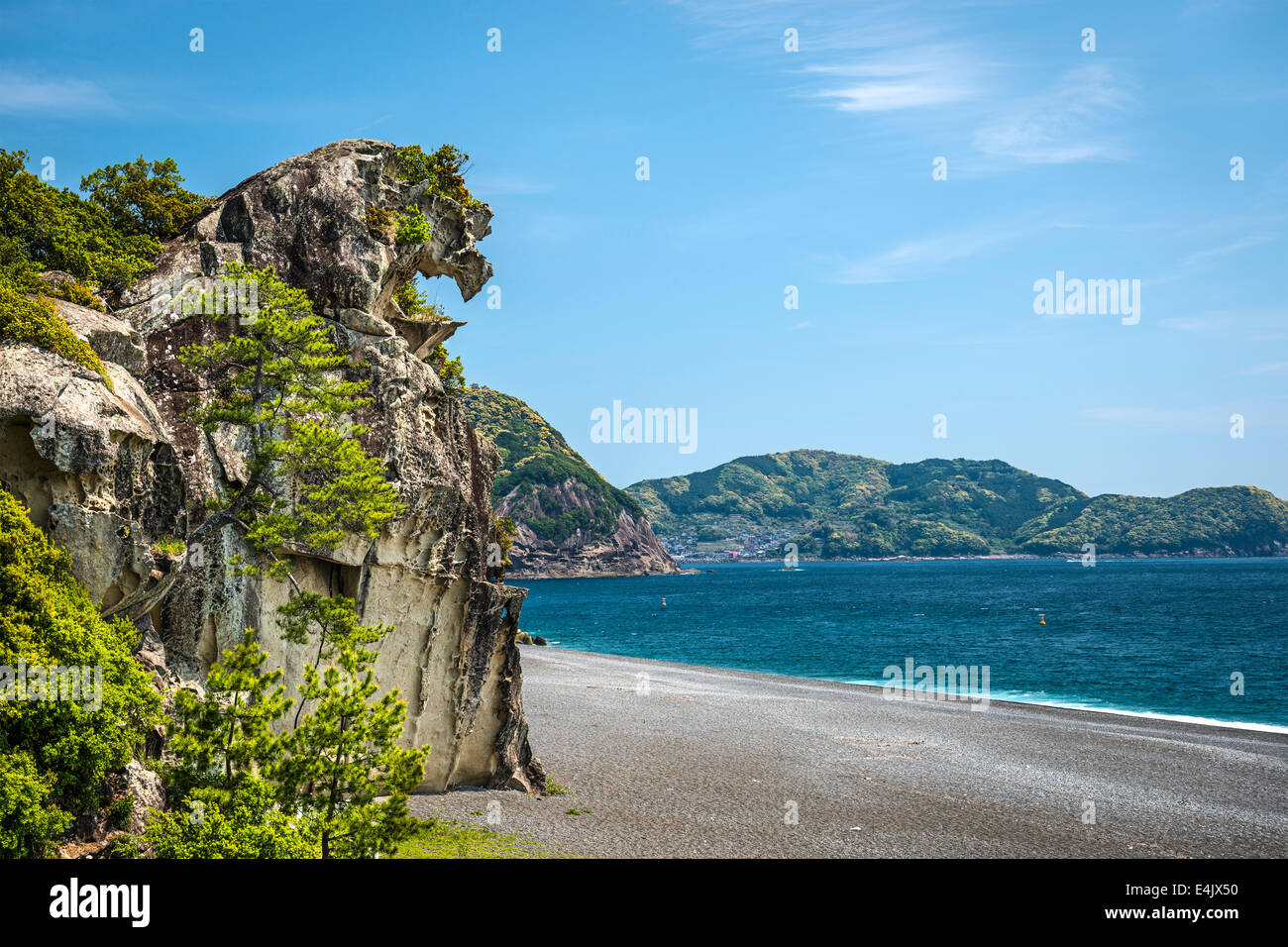 Lion rock (Shishi-iwa) in Kumano, Japan. - Stock Image