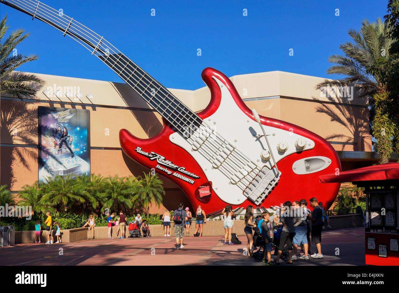 Rock N Roller Coaster Aerosmith, Guitar, at Hollywood Studios, Disney Stock Photo: 71716169 - Alamy