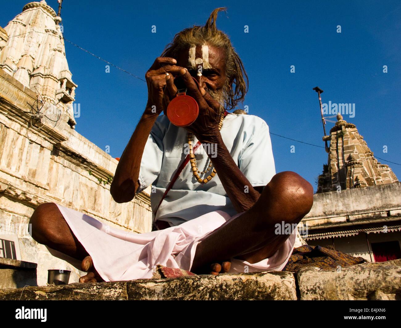 Sadhu in Udaipur - Stock Image