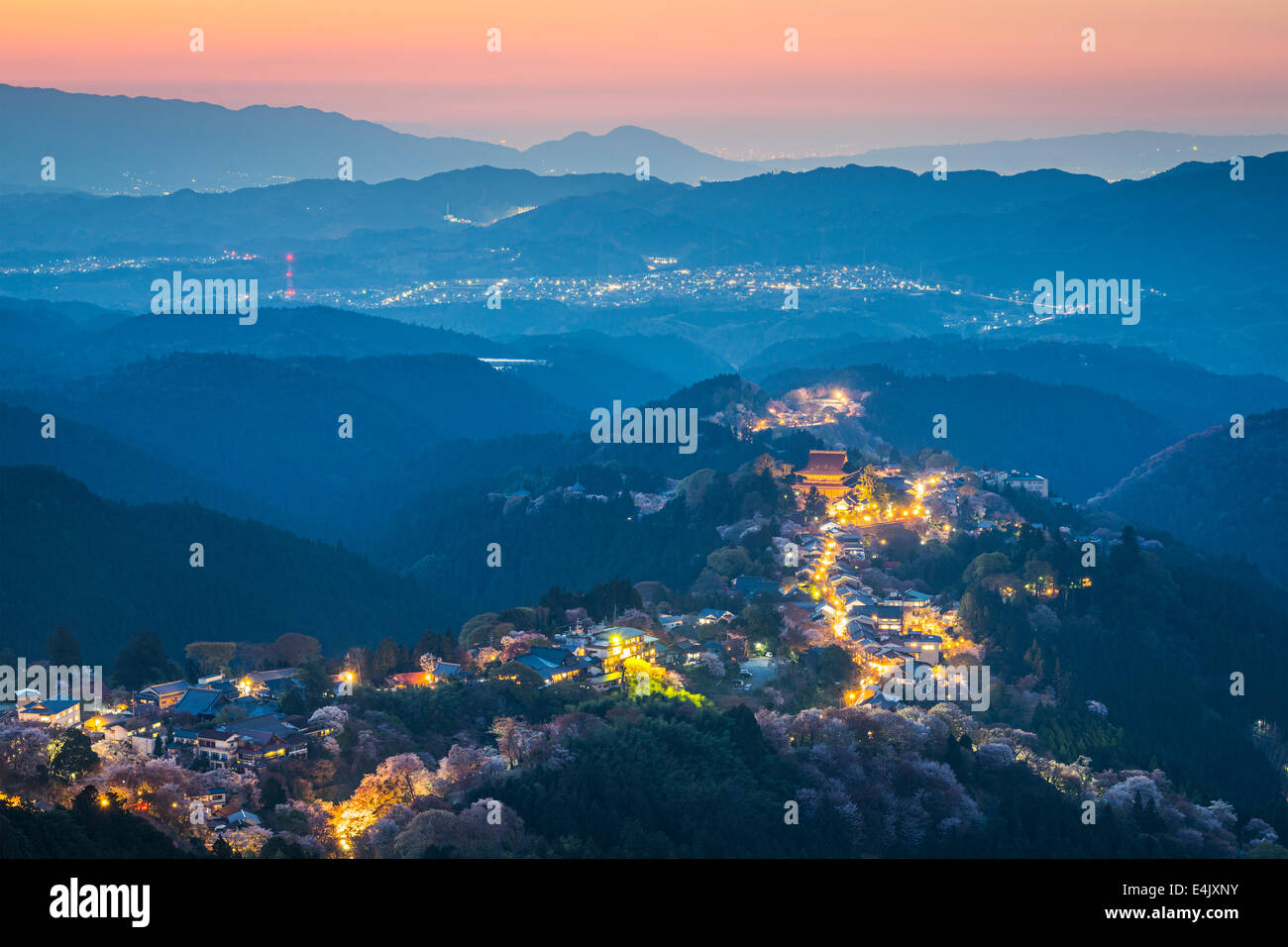 Yoshinoyama, Japan at twilight during the spring. - Stock Image