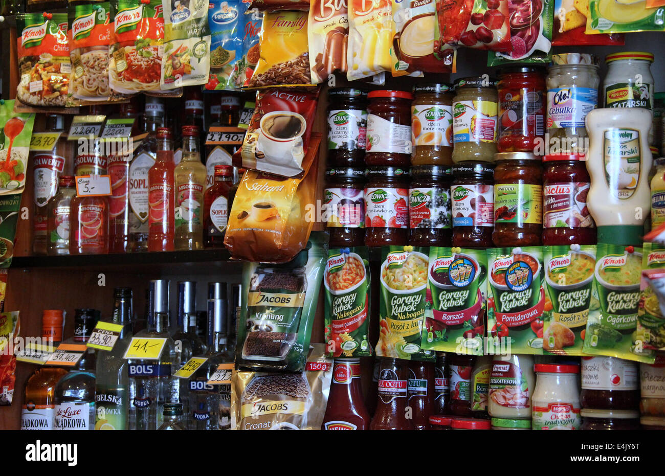 Polish Grocery Store in the Praga District of Warsaw - Stock Image