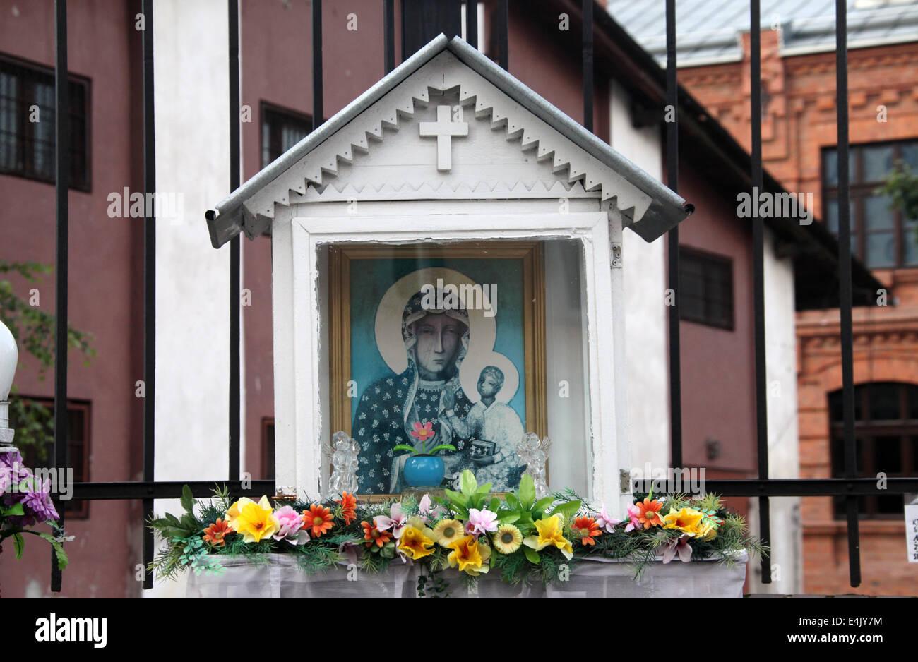 Shrine in the old  Praga district of Warsaw - Stock Image