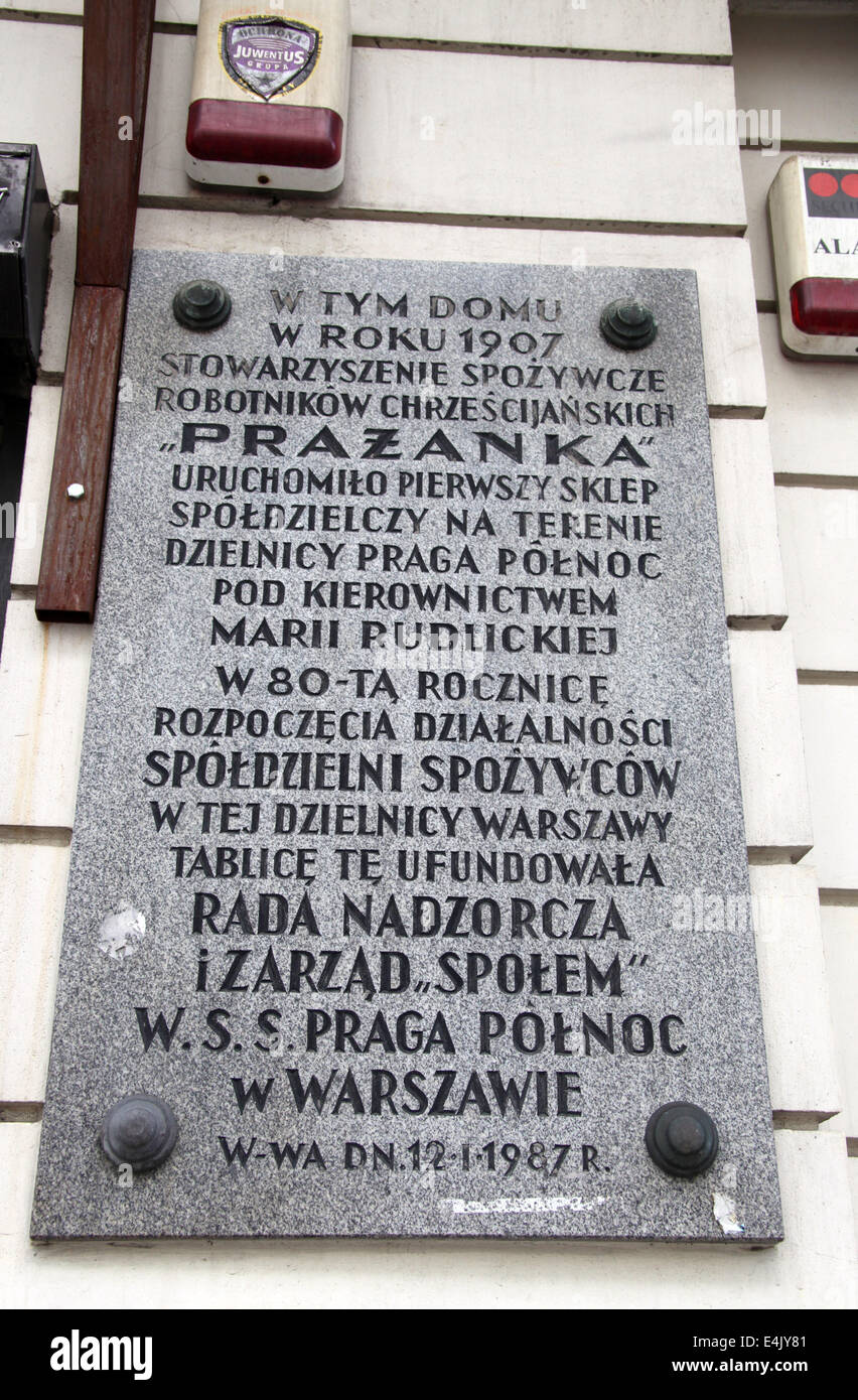 Wall Plaque in the Praga District of Warsaw - Stock Image