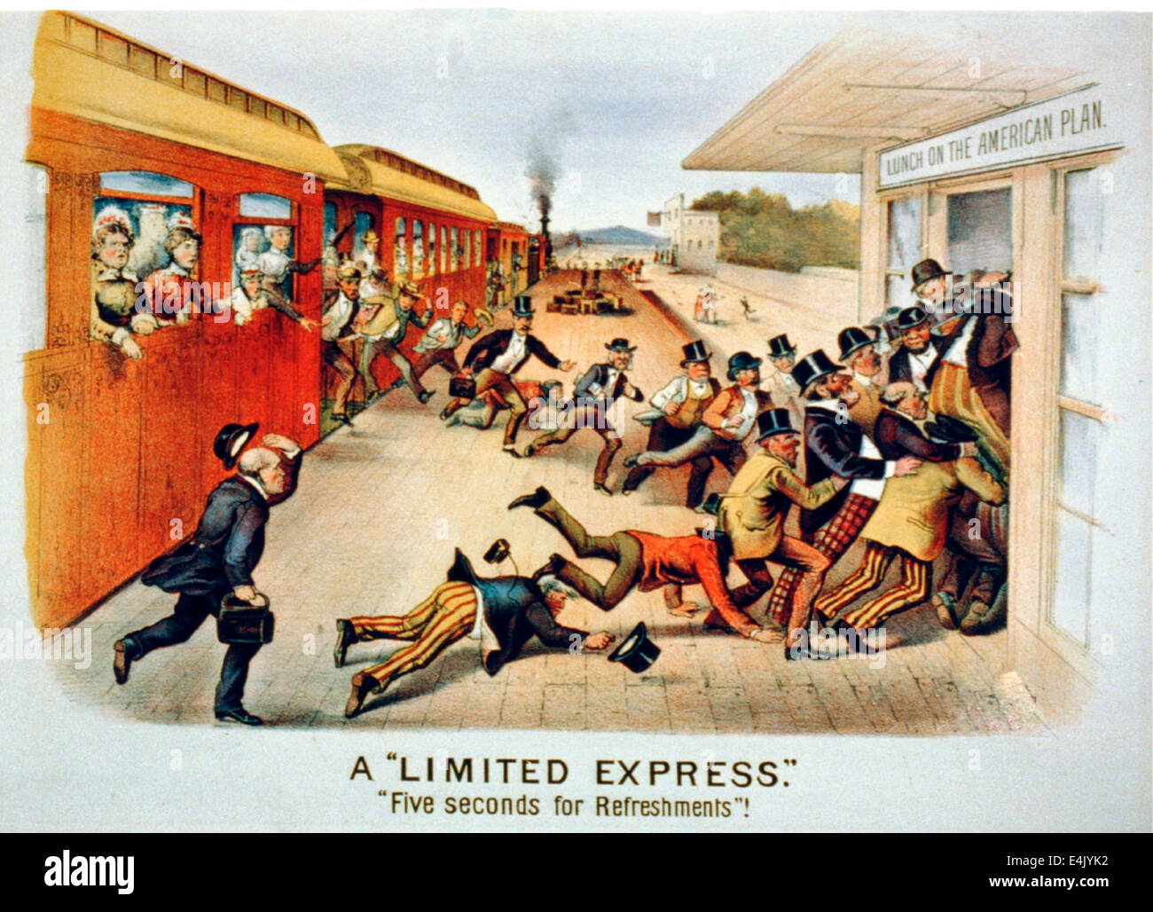 A Limited Express - Five Seconds for Refreshments - Passengers rush across a station platform from a train at left, - Stock Image