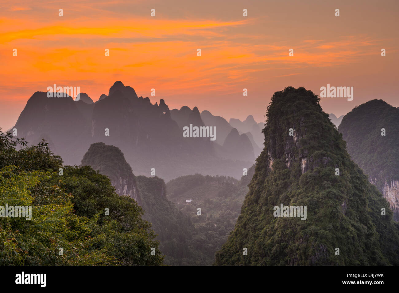 Karst mountain landscape in Xingping, Guangxi Province, China. - Stock Image