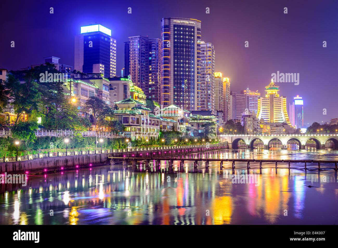 Guiyang, China cityscape on the Nanming River. - Stock Image