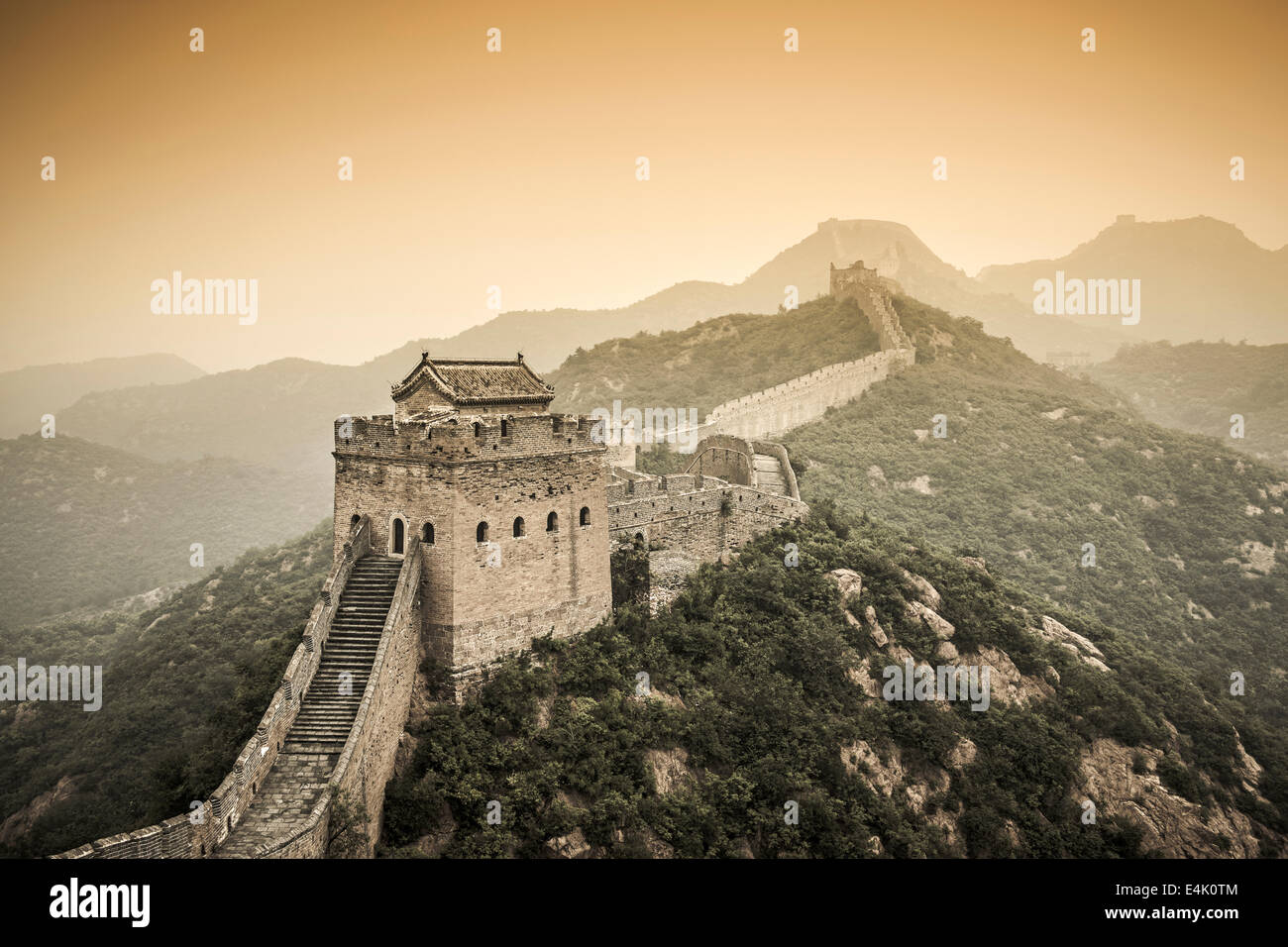 Partially restored section of the Great Wall in Jinshanling, Beijijng, China. - Stock Image
