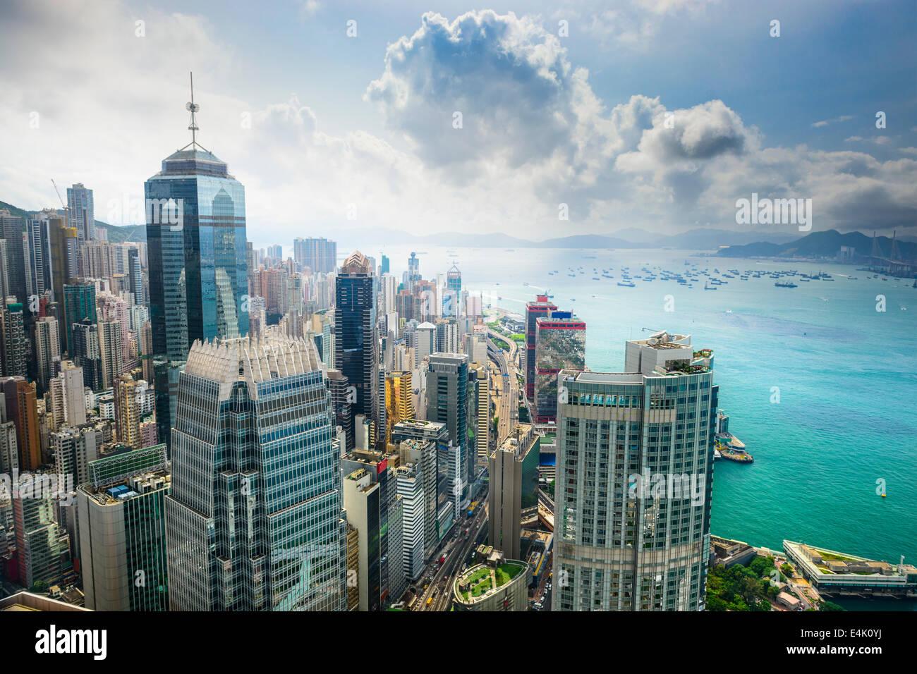 Hong Kong, China aerial view of the cityscape at Victoria Harbor. - Stock Image