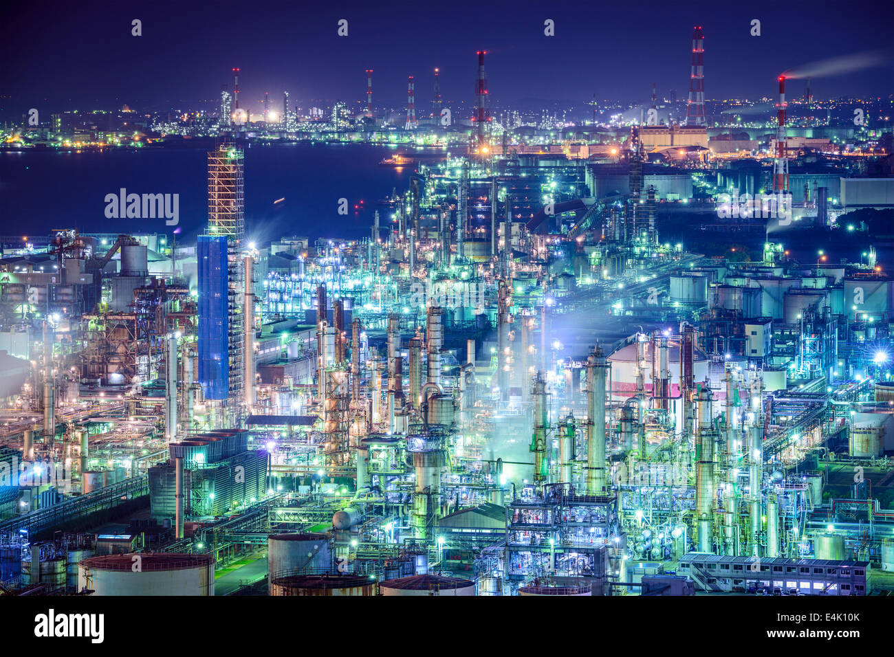 Industrial skyline in Yokkaichi, Japan. - Stock Image