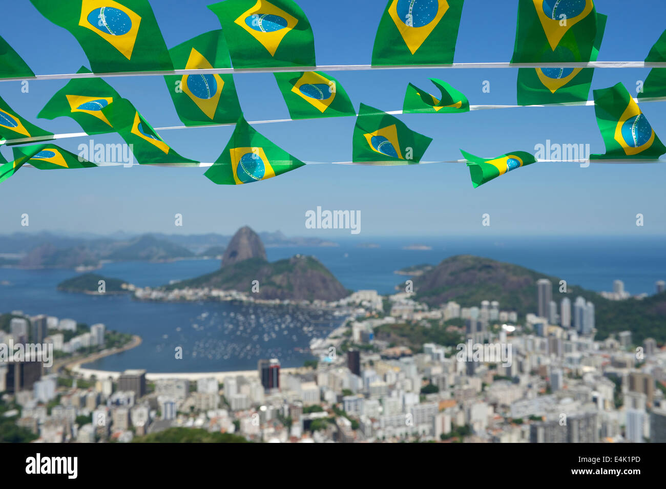 Brazilian Flags Bunting Decoration Above Sugarloaf Pao De Acucar Mountain Rio Janeiro Scenic Skyline View