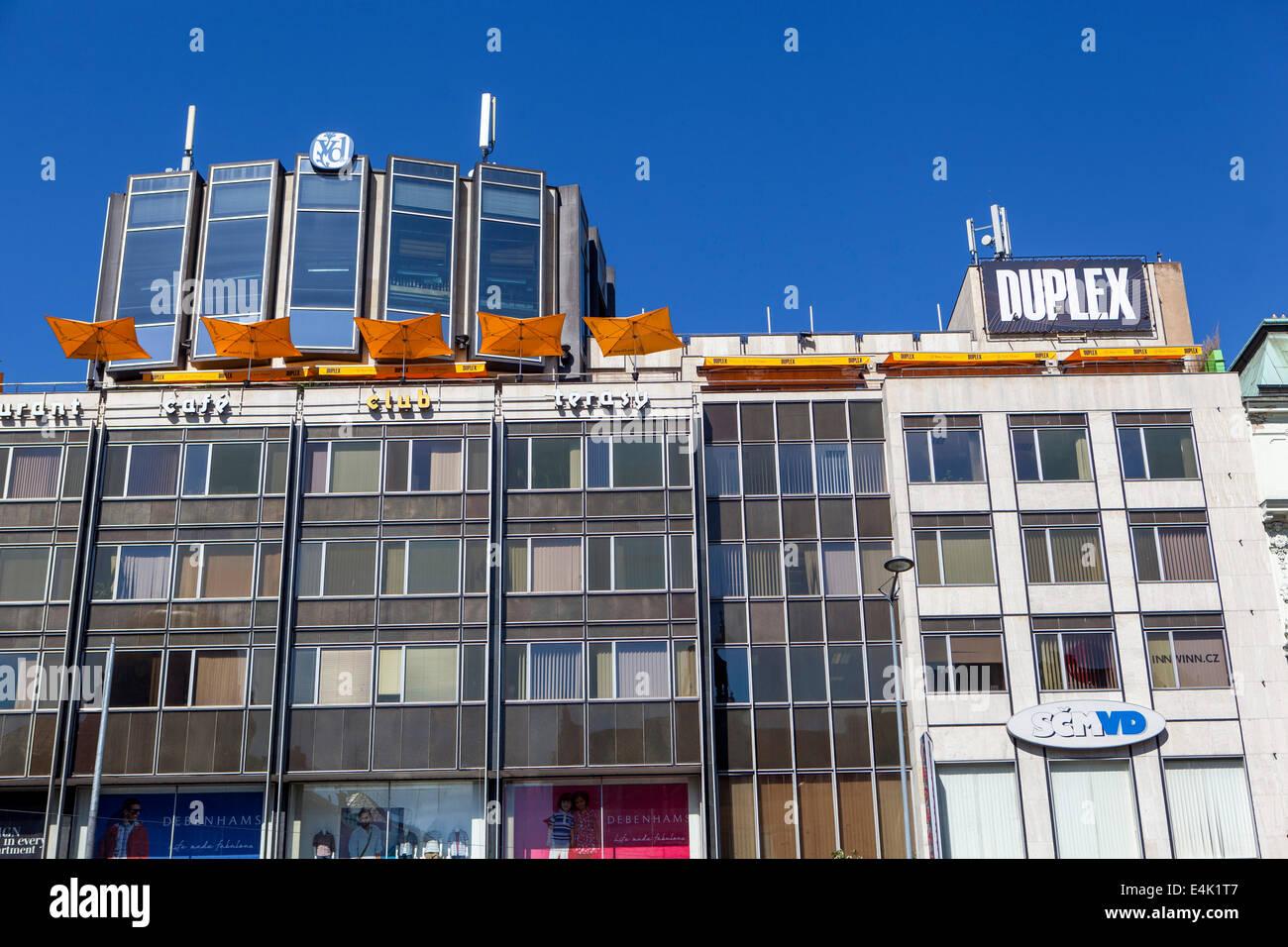 Prague Duplex Bar on the terrace of the house, Wenceslas Square, Prague Czech Republic - Stock Image