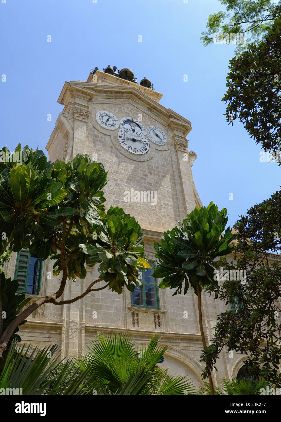 Clock Tower next to Grand Armoury Palace in Valletta, Malta - Stock Image