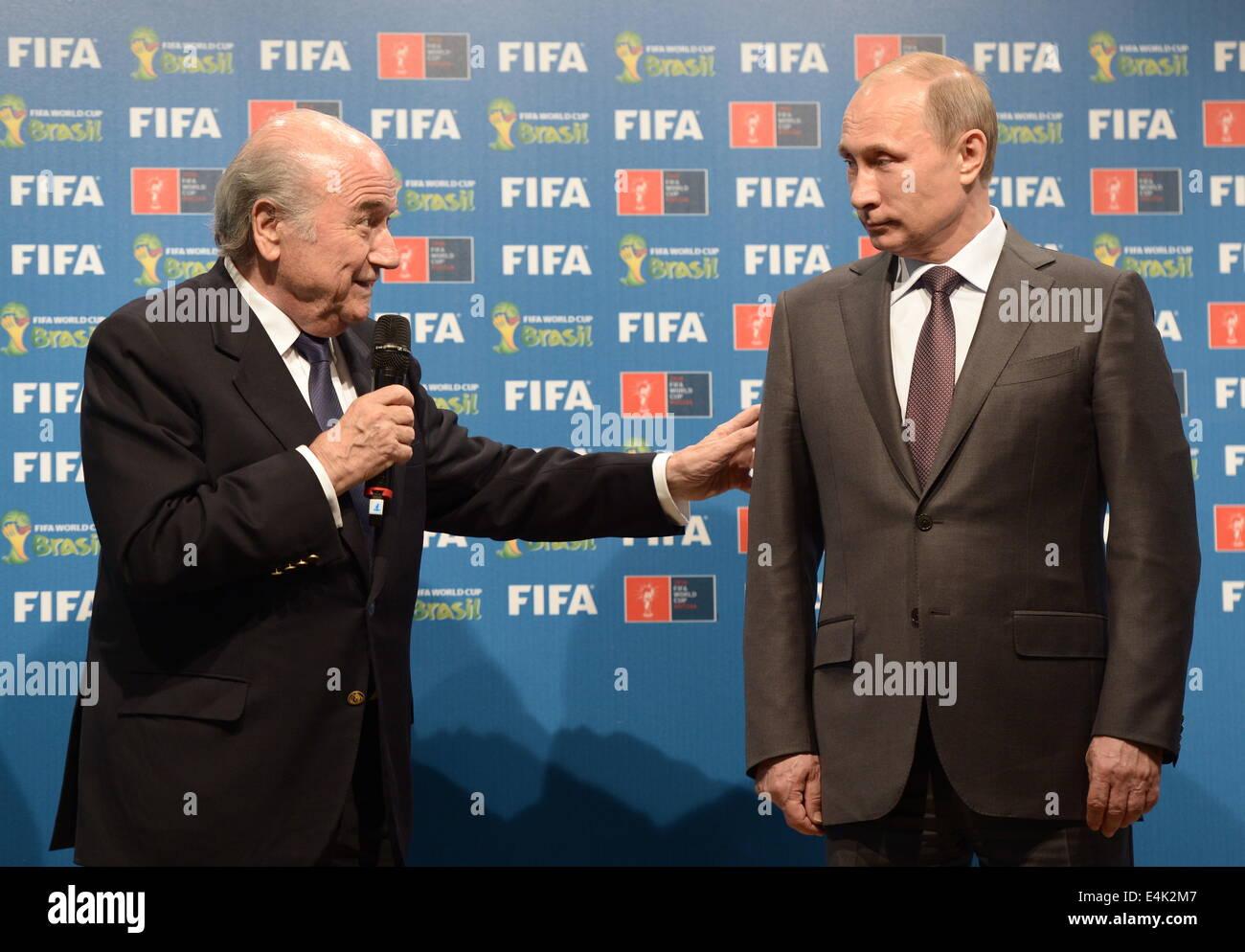 Rio De Janeiro, Brazil. 13th July, 2014. FIFA President Joseph Blatter (L) and Russian President Vladimir Putin - Stock Image