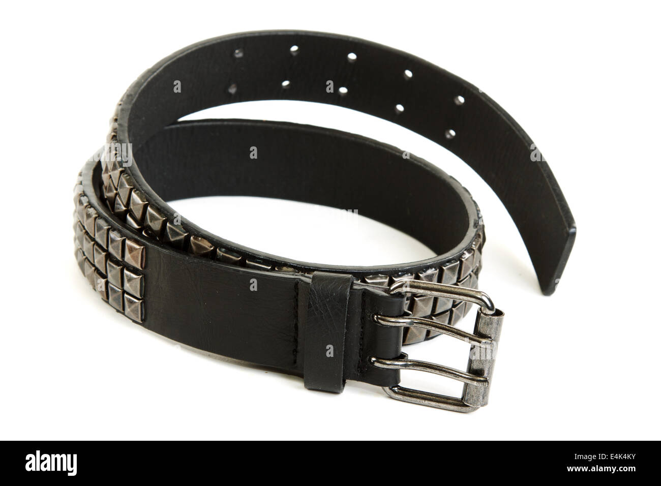 Black leather belt with steel buckle - Stock Image