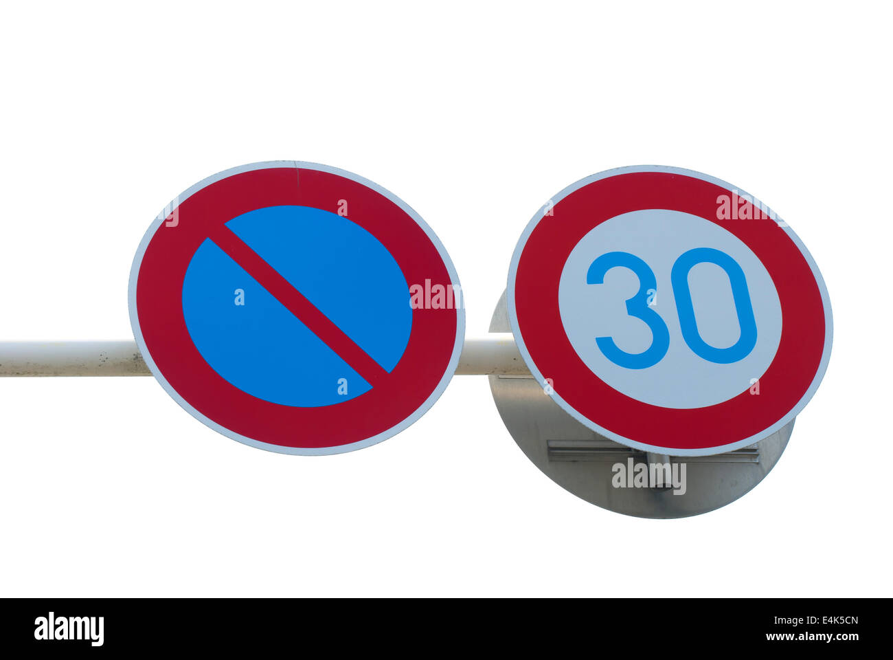 Road sign speed limit background - Stock Image