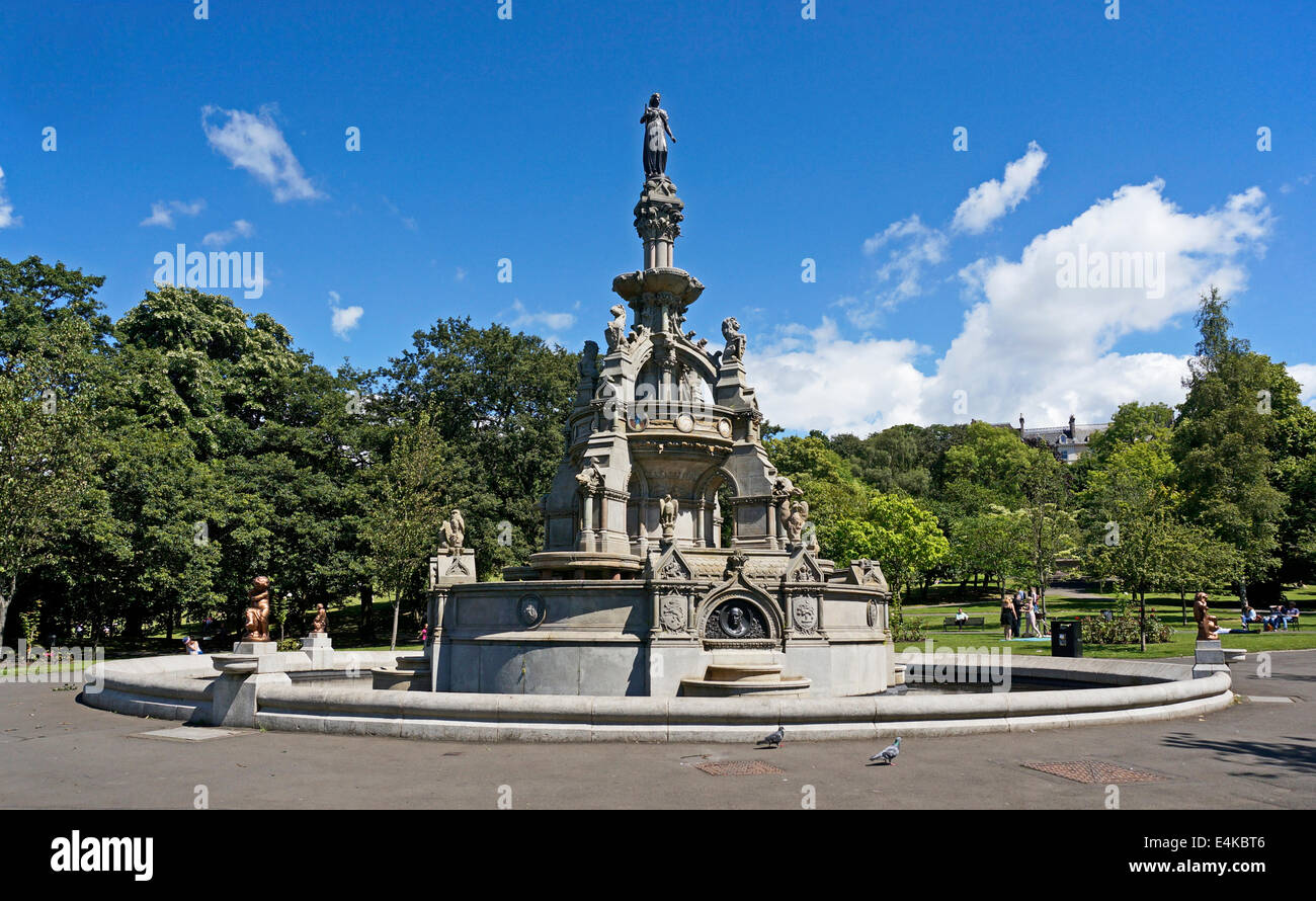 Stewart Memorial Fountain in Sir Joseph Paxton designed Kelvingrove park in the west end of Glasgow Scotland - Stock Image
