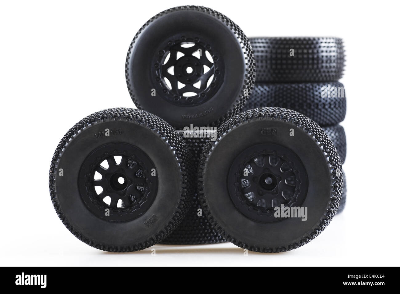 heap of wheels for radio-controlled models - Stock Image