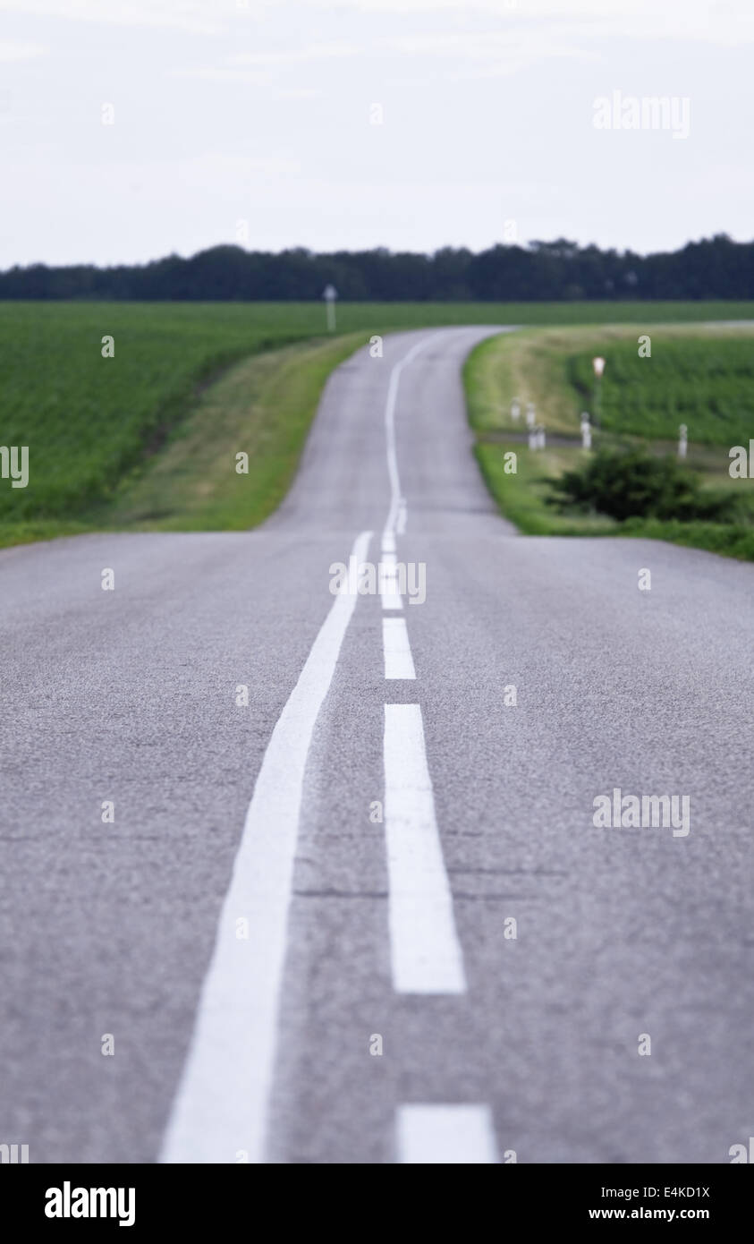empty country road and green fields - Stock Image