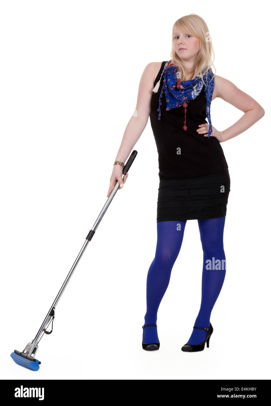 girl with a mop - Stock Image