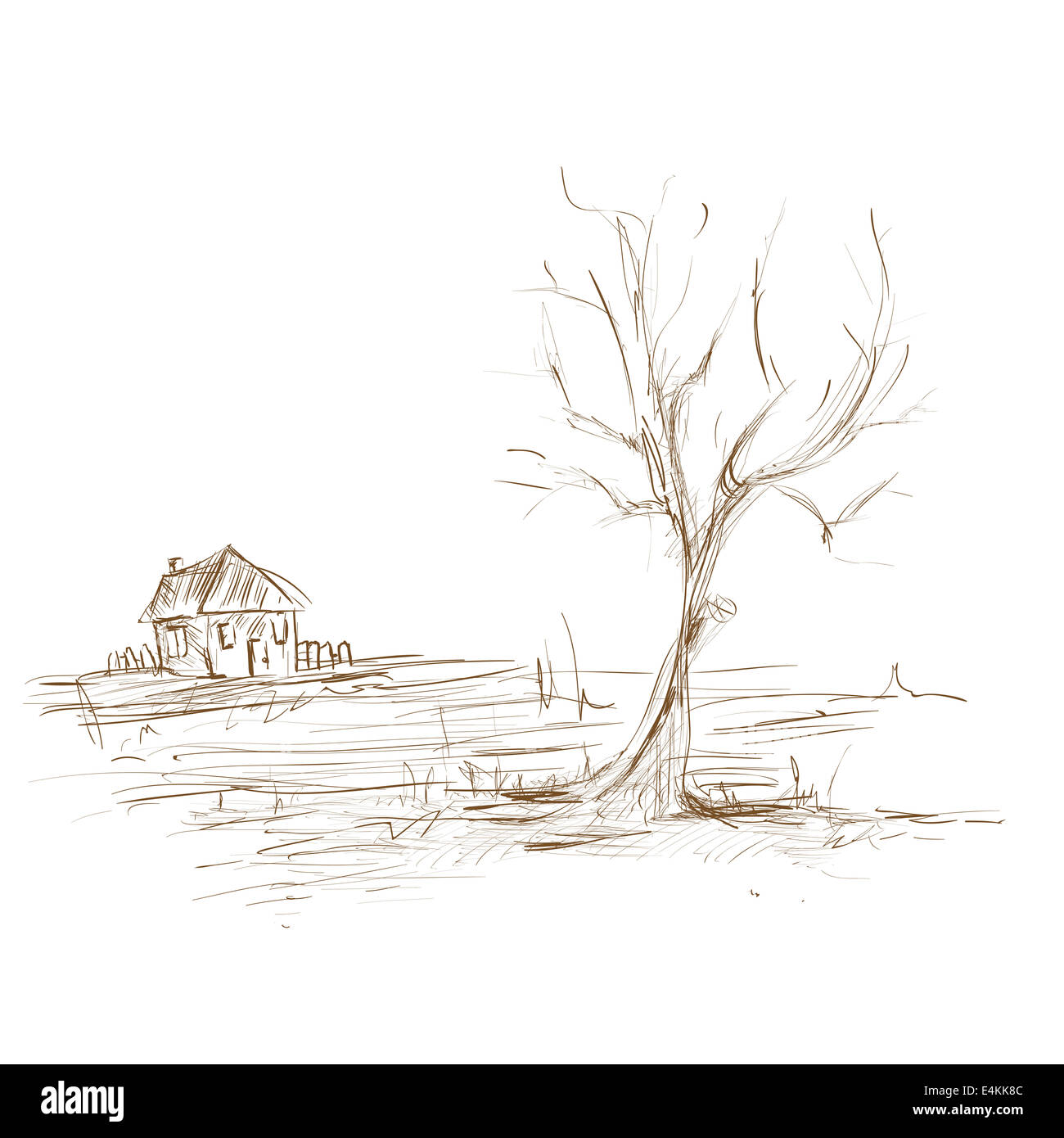 Hand Draw Sketch Landscape Tree And House Stock Photo 71732316