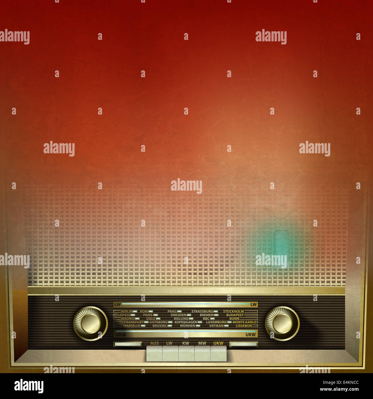 abstract brown grunge background with retro radio - Stock Image