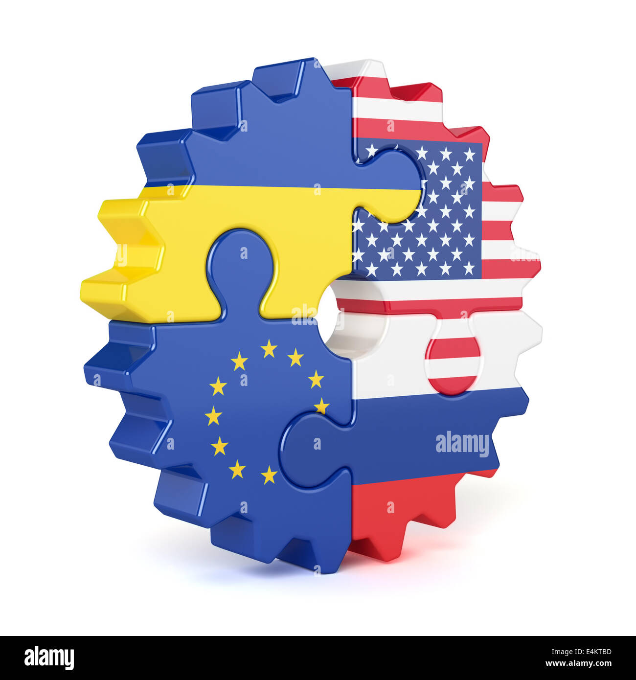 Puzzle gear of stacked flags European Union, USA, Russia, and Ukraine. Isolated on white background - Stock Image