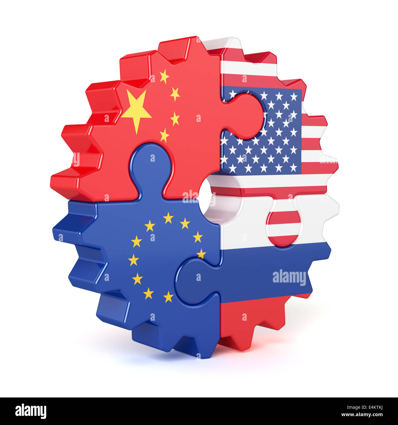 Puzzle gear of stacked flags European Union, USA, Russia, and China. Isolated on white background - Stock Image