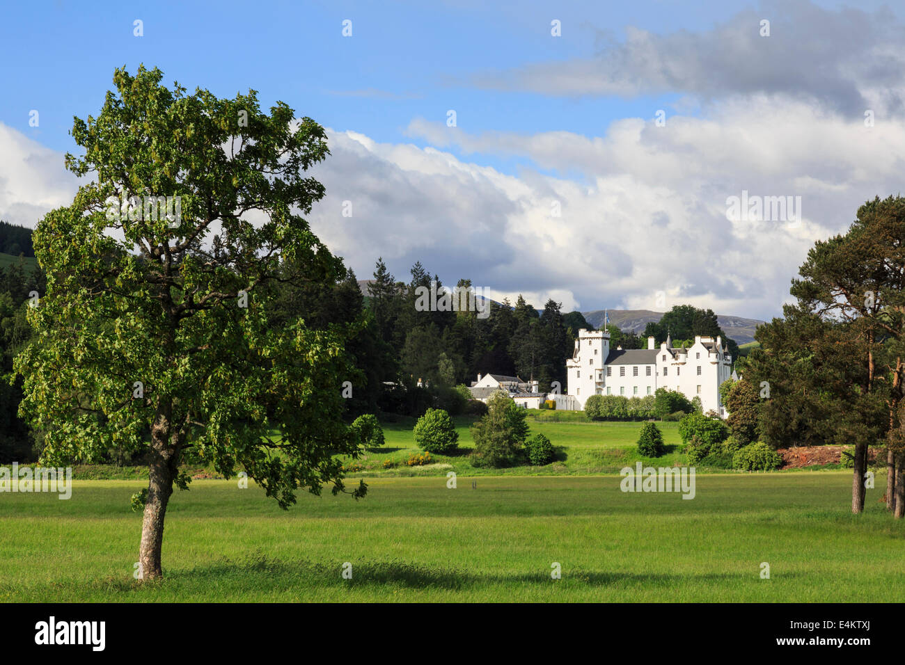 View to Blair Castle across estate grounds ancestral home of Clan Murray. Blair Atholl Perth and Kinross Scotland - Stock Image