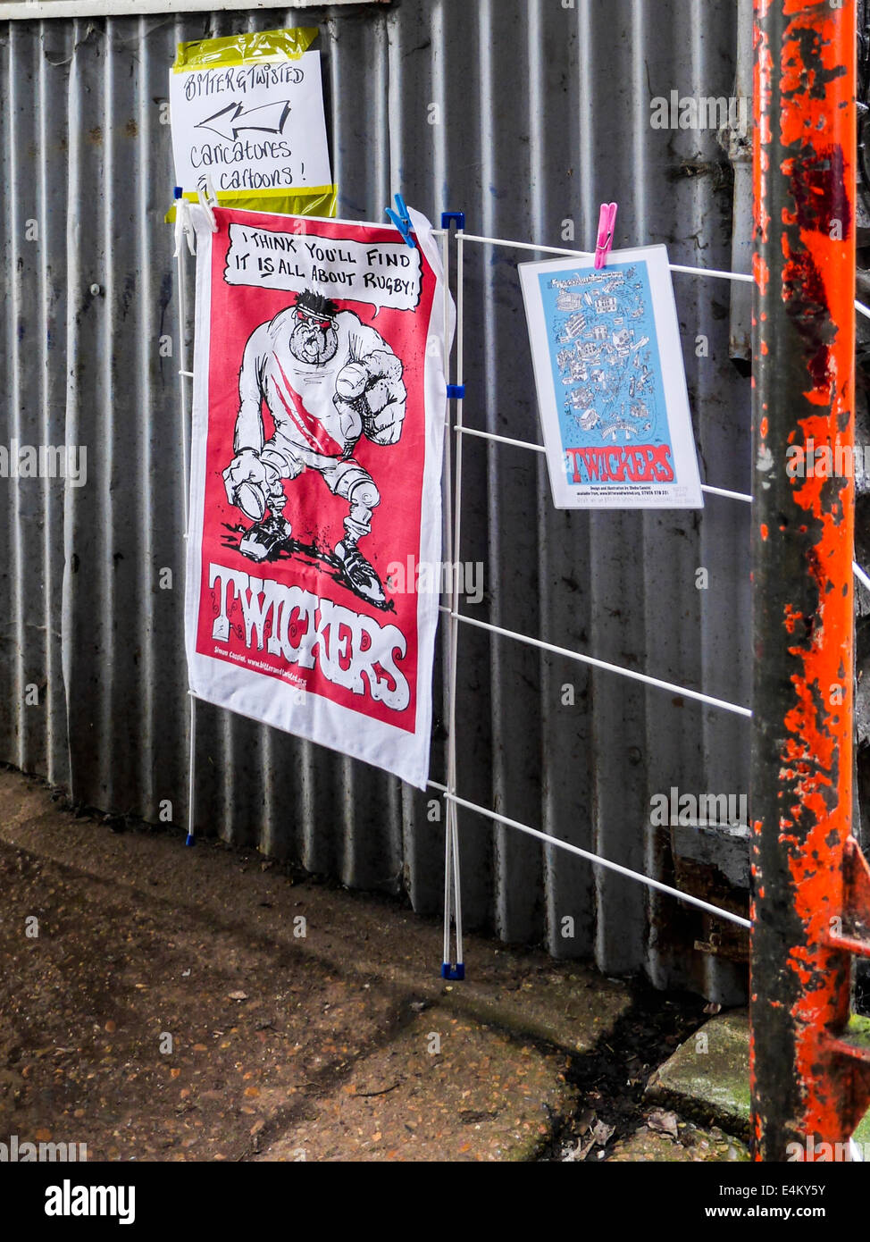 Simon Cassini, caricatures and cartoons,  Bitter and twisted Twickers posters on Eel Pie Island, Twickenham, London, - Stock Image