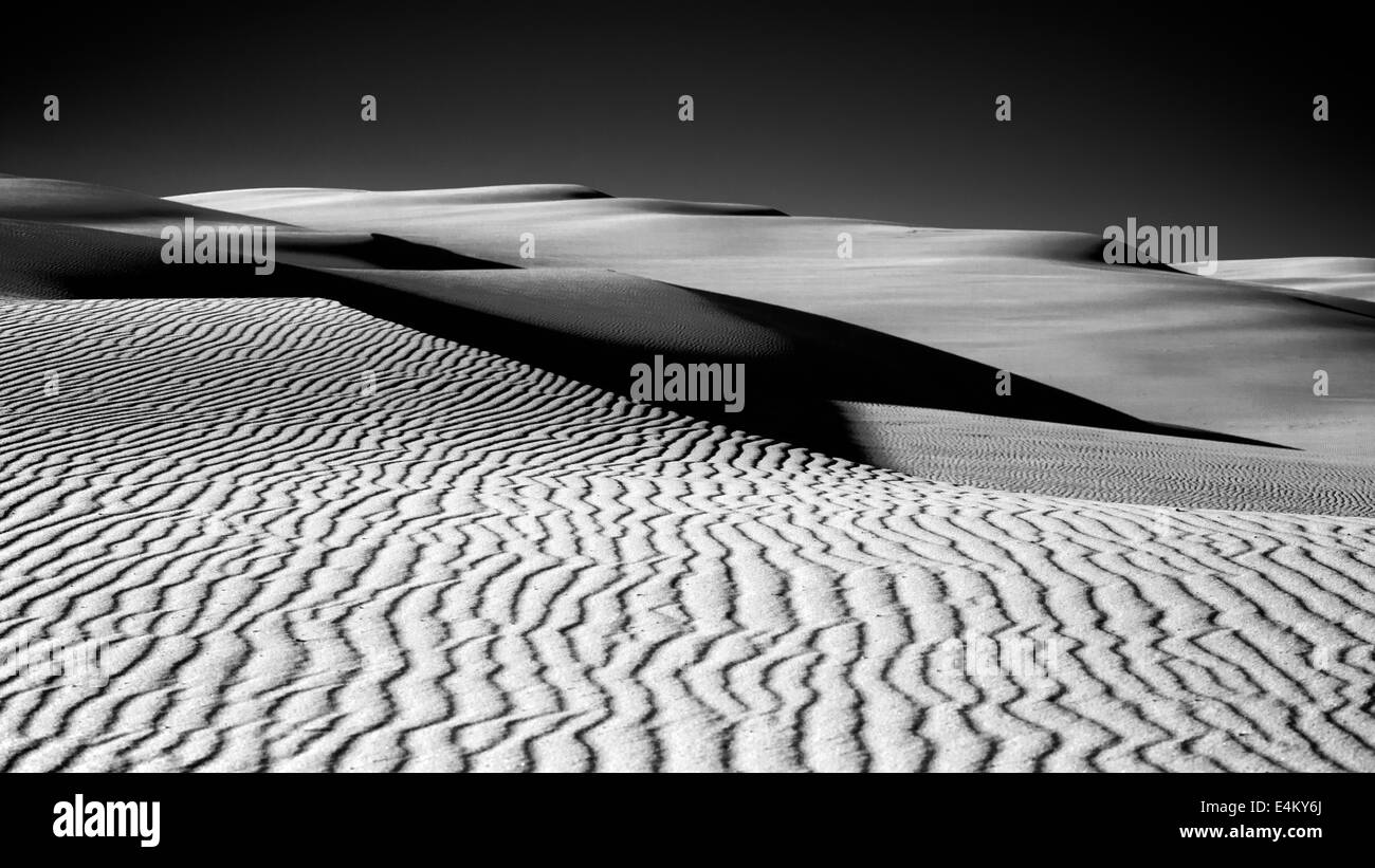 sand dunes in black and white - Stock Image