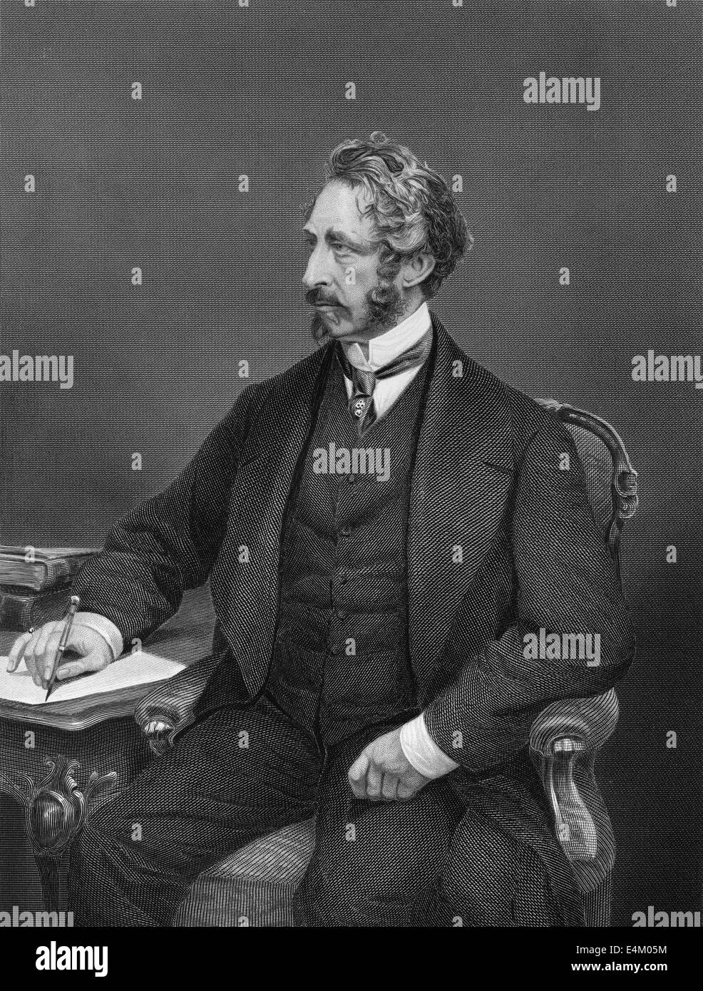 portrait of Edward George Earle Lytton Bulwer-Lytton, 1803 - 1873, an English politician, poet and playwright, Stock Photo