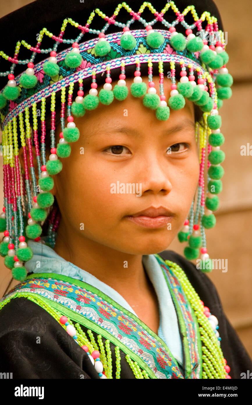 Hmong ethnic minority girl in Ban Na Ouane village near Luang Prabang, Laos. - Stock Image