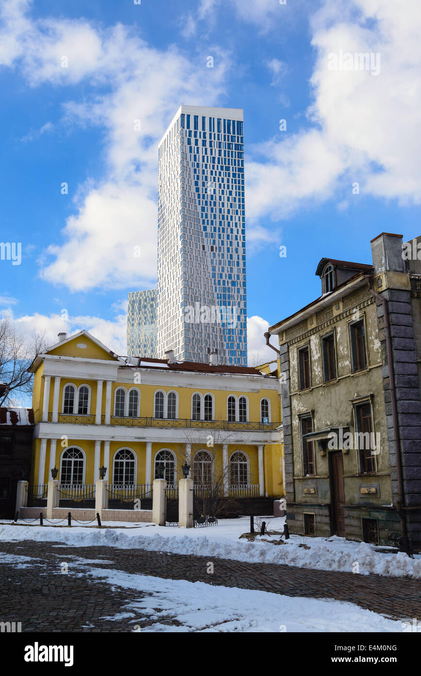 Old Moscow on a background of a skyscraper. Russia - Stock Image