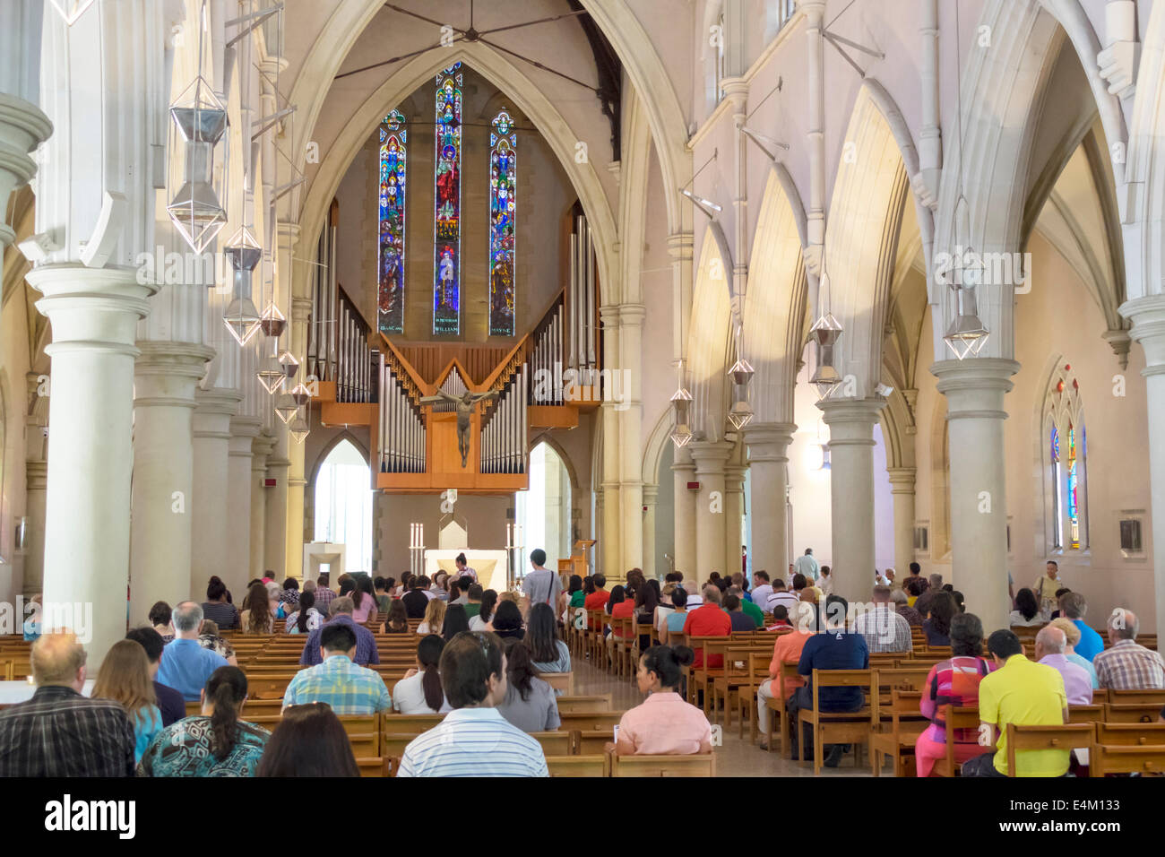 Brisbane Australia Queensland Central Business District CBD St. Stephen's Cathedral inside interior pews - Stock Image