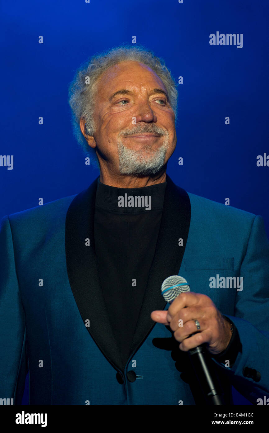 Welsh singer Tom Jones on stage at Chepstow Racecourse. - Stock Image