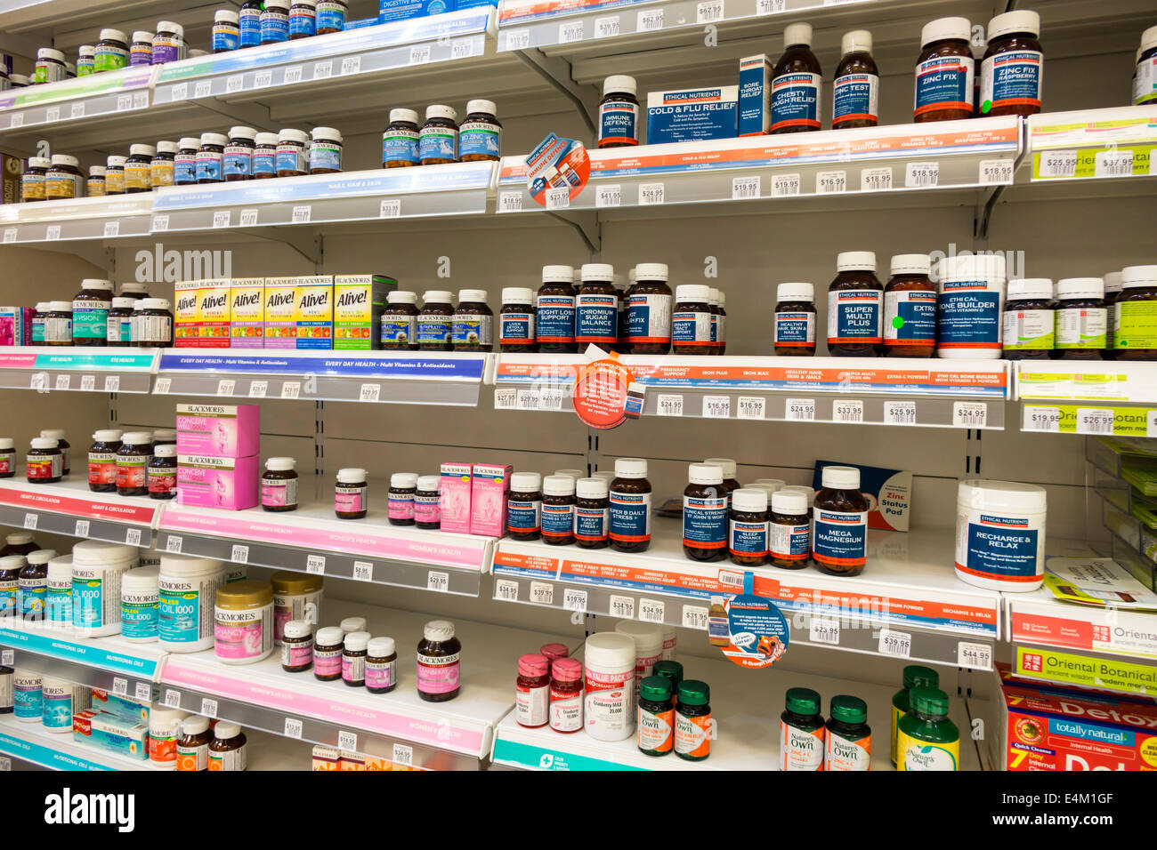 Melbourne Australia Victoria Central Business District CBD pharmacy drugstore dietary supplements vitamins - Stock Image