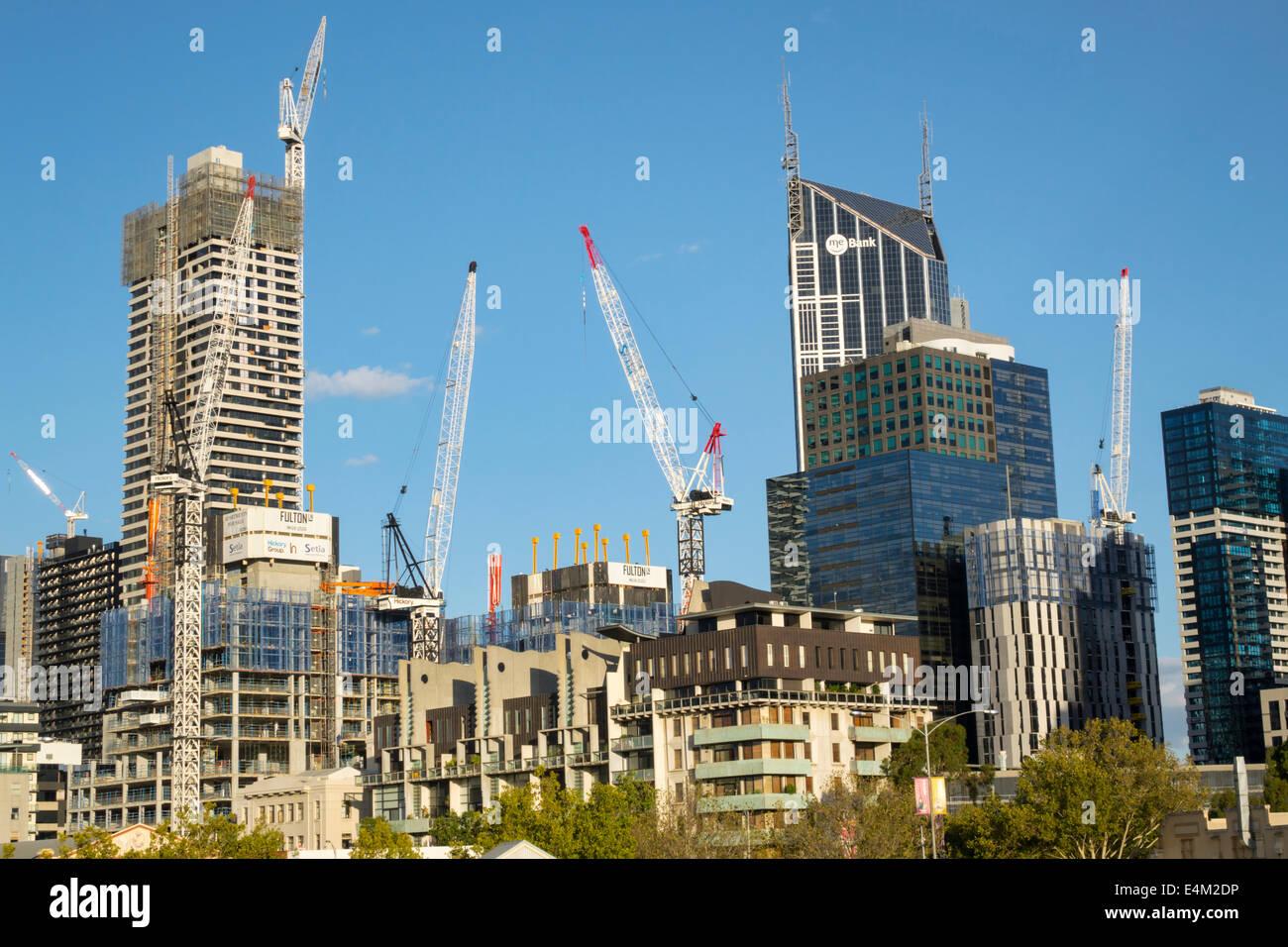 Australia, Victoria, Melbourne, Central business, District, CBD, high rise rises skyscraper skyscrapers tall building Stock Photo