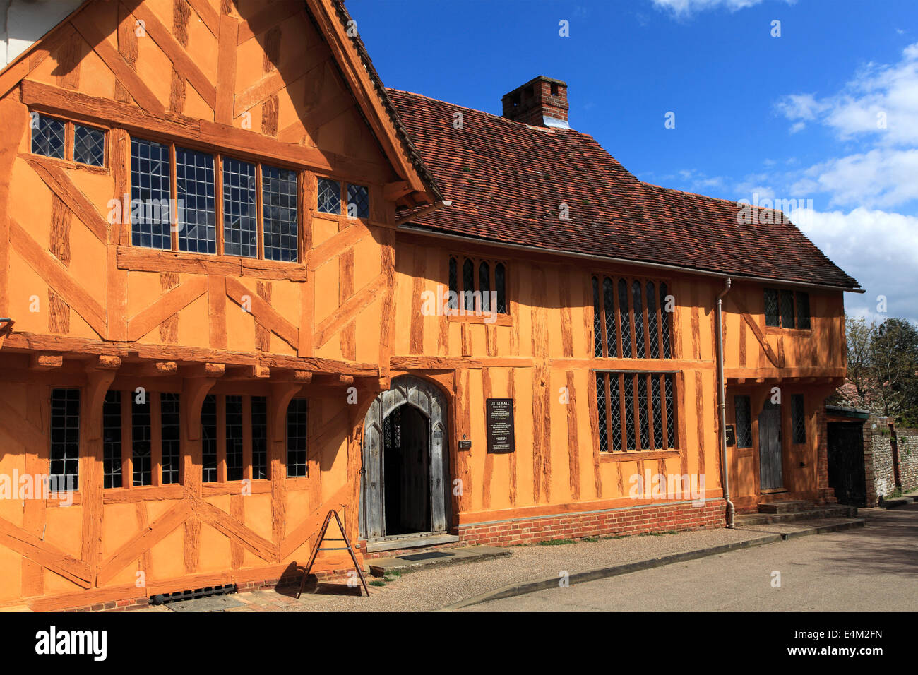 Little Hall Market square, Lavenham village, Suffolk County, England, Britain. - Stock Image