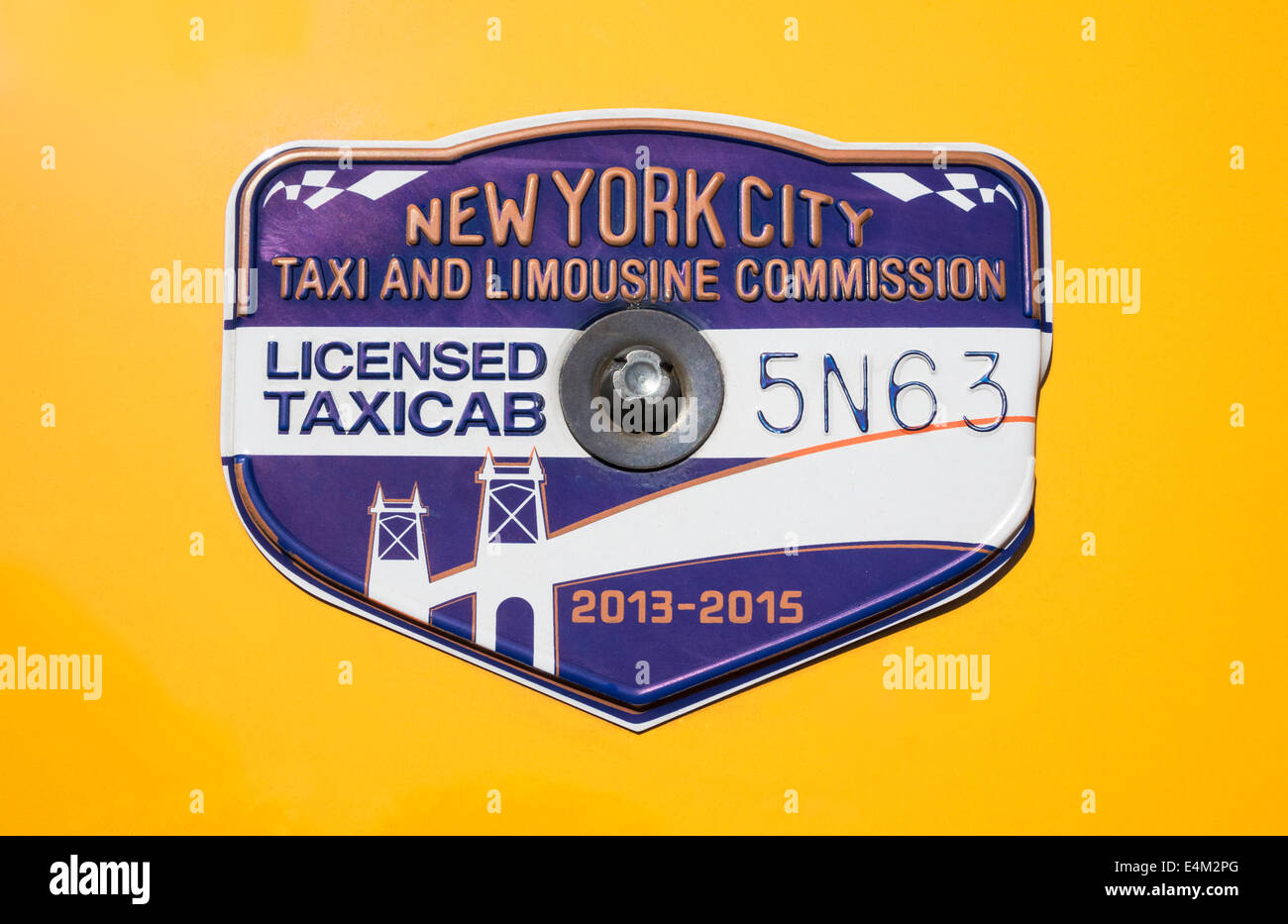 New York City yellow taxicab medallion for 2013-2015 - Stock Image