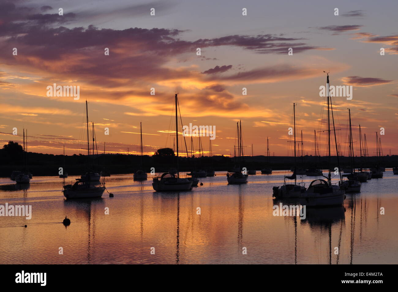 Dawn at Hullbridge on the River Crouch Essex - Stock Image